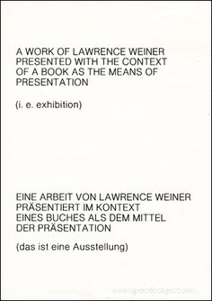 """flyer for lawrence weiner's exhibition """"with a touch of pink"""" (1978) at Kabinett für aktuelle Kunst Bremerhaven"""