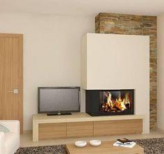 kandalló_ötletek-54 Fireplace Tv Wall, Basement Fireplace, Modern Fireplace, Living Room With Fireplace, Home Living Room, Living Room Decor, Home Renovation, Home Remodeling, Kitchen Bookcase