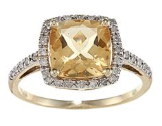 Yellow Gold Cushion Citrine and Diamond Ring TDW) - Citrine Fine Ring - Ideas of Citrine Fine Ring Amethyst And Diamond Ring, Halo Diamond, Diamond Rings, Gemstone Rings, Beautiful Engagement Rings, Beautiful Rings, Gold Bands, Diamond Wedding Bands, Wedding Jewelry Simple