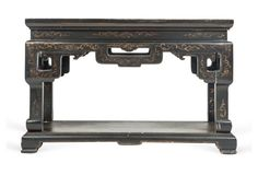 "Carved and intricately hand-painted lacquer finish Chinese altar table | vintage | pine | 23""w x 14""d x 15""h 