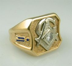 pictures of antique jewelry | Vintage Gold Diamond Masonic Lodge Ring Estate Fraternal Jewelry ...