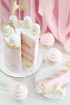Pink Champagne and Gold Leaf Layer Cake and Cupcakes   Sprinkle Bakes