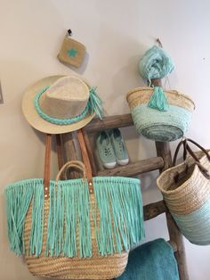 Aqua | Light turquoise | Minty | summer beach equipment - bags, hats, scarves