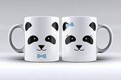 Pack 2 tazas ilustración pareja de osos panda