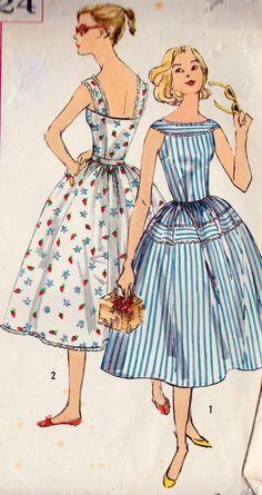 "1950s Summer Dress Vintage Sewing Pattern, Summer Fashion, Sun Dress, Rockabilly, Full Skirt, Simplicity 2124 bust 34"" uncut on Etsy, $15.73 AUD"