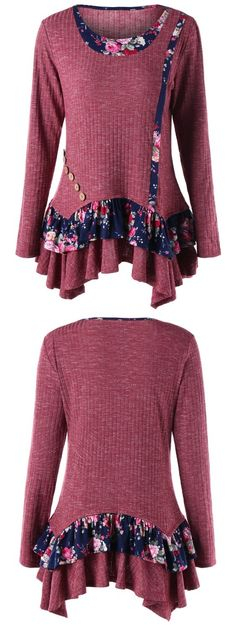Floral Panel Ribbed Peplum Blouse #valentinesday Look Fashion, Womens Fashion, Tee T Shirt, Peplum Blouse, Work Tops, Couture, Winter Outfits, Style Me, Girl Outfits