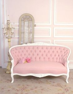 Pink antique couch @Ashley Walters Pitts