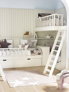 An awesome way to stack bunk beds and still have space in the room! An awesome way to stack bunk bed Bunk Bed Designs, Kids Bunk Beds, Teen Girl Bedrooms, Teen Bedroom, Master Bedroom, Kids Room Design, Nursery Design, Dream Rooms, Girl Room