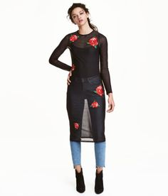 Check this out! Long-sleeved, knee-length mesh dress with embroidered appliqués at front. - Visit hm.com to see more.