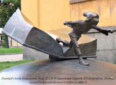 Swedish Book Monument © Agnieszka GDANSK (Photographer, Poland) via flickr. A fairy tale character (a young boy, a tomten?] flees his fairy tale book.   [Do not remove caption. International copyright law requires you to credit the copyright holder. Link directly to the exhibition website.]  PINTEREST on COPYRIGHT:  http://pinterest.com/pin/86975836526856889/ HOW TO FIND an image's original artist & website: http://www.pinterest.com/pin/86975836525507659/
