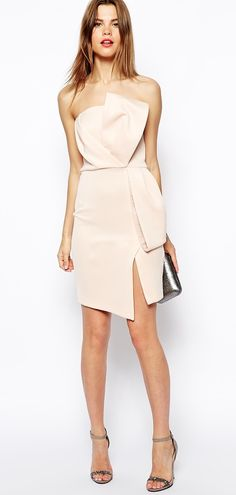 ASOS nude origami bow pencil dress. super classy work party doable