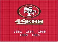 Aphgan Patterns, Crochet Patterns, Cross Stitch Pattern Maker, Cross Stitch Patterns, American Football, Football Team, Crochet Afghans, San Francisco 49ers, Beautiful Crochet