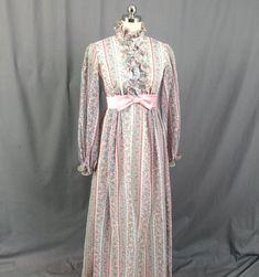 Boho Prairie Dress, 60s Maxi Dress, Floral Maxi Dress, 1960s Maxi Dress, Empire Waist Dress, Wedding Dress