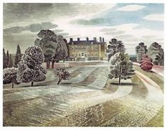 """""""Buscot Park, Farringdon"""" by Eric Ravilious, c.1938. The painting was commissioned by Lord Berners of Farringdon."""