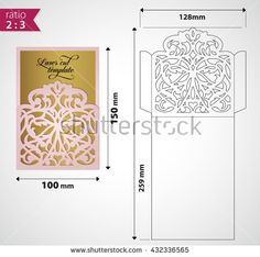 Digital vector file for laser cutting. Laser cut swirly ornate wedding invitation envelope. Cutout pocket envelope template design. Wedding invitation envelope for cutting machine or laser cutting.