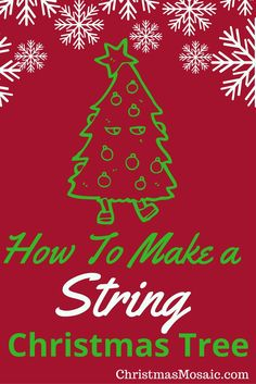 Do you love to have a tabletop Christmas tree as well as the big one? How about making a string Christmas tree? Christmas Mosaics, Tabletop Christmas Tree, Christmas Decorations, Magic, How To Make, Diy, Color, Bricolage, Colour