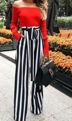 Palazzo Pants Outfit For Work. 14 Budget Palazzo Pant Outfits for Work You Should Try. Palazzo pants for fall casual and boho print. Classy Outfits, Casual Outfits, Dress Outfits, Party Outfit Casual, Cute Pants Outfits, Outfits Mujer, Woman Outfits, Simple Outfits, Casual Wear