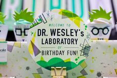 Mad Science Dessert Table Boy Birthday Party Sign