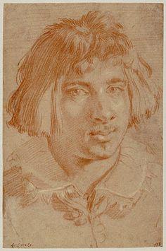 Portrait of a Young Man, Gian Lorenzo Bernini - Italian, 1630 / Red and white chalk