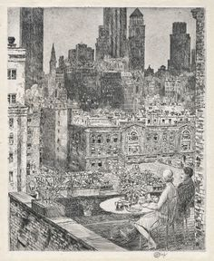 Available for sale from The Old Print Shop, Inc., Childe Hassam, New York Spring, 1931. (1931), Etching, 12 3/4 × 10 3/8 in