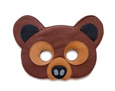 Grizzly Bear mask, felt mask, adults Woodland animal mask, kids brown bear costume, pretend play, grizzly dress up, Halloween bear costume