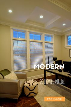 "Hunter Douglas Parkland Classic Real Wood Blinds were perfection for this modern home office.  We used the 2.5"" Slat for a sleeker more modern impact on these large windows."