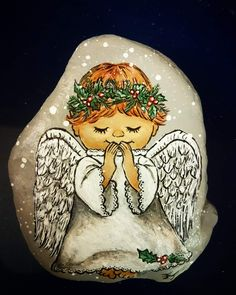 - Easy Rock Painting Ideas For Fun Painted Rocks Craft, Hand Painted Rocks, Stone Crafts, Rock Crafts, Pebble Painting, Stone Painting, Christmas Rock, Christmas Ideas, Xmas