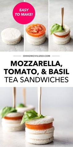 Here's a recipe that's quick and easy to follow! Enjoy tasty and adorable tea sandwiches made with mozzarella cheese, cocktail tomatoes, and basil for your afternoon tea time or upcoming garden party. Learn to make these ahead - click to continue.