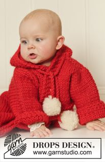 """DROPS Christmas: Knitted DROPS bunting bag in""""Eskimo"""". Size 1/3 months - 3/4 years ~ DROPS Design"""