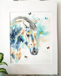 Contemporary horse watercolour painting  NEW for sale £400 inc postage. 🦋  In sea breeze colours, tropical vibes 🤩  Payment plans can be organised.  Contemporary watercolour piece with 3D butterflies (pretty extra, they are super realistic- I had to export them to a friend in Canada, then to me in the UK)  Size: 40cm x 50cm without frame 75cm x 55cm inc frame.  This is number 4 of the new collection. The idea behind the butterflies is to bring forward the spirit and freedom of the horse… Watercolor Horse, Watercolour Painting, Chloe Brown, Horse Artwork, Tropical Vibes, Contemporary Artwork, Pet Portraits, Breeze, Giclee Print