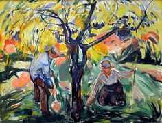 """dappledwithshadow: """" The Apple Tree Edvard Munch 1921 Kunsthaus - Zurich (Switzerland) Painting - oil on canvas Height: 100 cm in. Edvard Munch, Tree Illustration, Illustration Artists, List Of Paintings, Georges Seurat, Oil Painting Reproductions, Art Graphique, Wassily Kandinsky, Fine Art"""