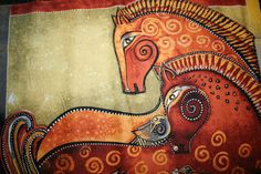 Laurel Burch EMBRACING HORSES PANEL Outstanding by shannonksykes