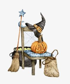 Halloween image painted by Diane Knott. his would make a cute cross stitch project. Photo Halloween, Halloween Vintage, Halloween Artwork, Halloween Drawings, Theme Halloween, Halloween Clipart, Halloween Pictures, Halloween Cards, Holidays Halloween