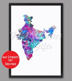 India Map Print Blue Purple Watercolor Map Colorful Wall Art India Art Print Colorful Home Decor Travel Art Map Living Room Wall Decor Map Wall Art, Map Art, Wall Colors, House Colors, Water Color World Map, India Map, Watercolor Map, Colorful Wall Art, Living Room Art