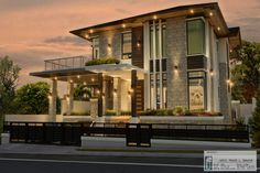 Gallen Residence on Behance Modern Exterior House Designs, Best Modern House Design, Modern House Facades, Bungalow Exterior, Dream House Exterior, Modern Architecture House, Modern Zen House, 2 Storey House Design, Bungalow House Design