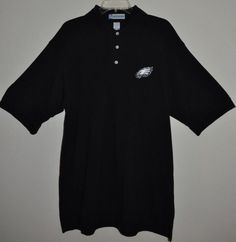 #Philadelphia #Eagles Polo Shirt FOOTBALL NFL Miller Lite. The color is Black with a white embroiderd Eagles logo