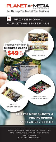 Let us help you market your business - Professional marketing materials • Impressively Thick Business Cards & more! • #marketingmaterials