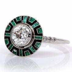 1.45ct Antique Deco Diamond Emerald Onyx Engagement Ring