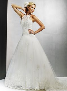 I think halter wedding dresses like this is unusual and