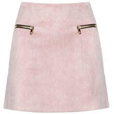 Dusty Pink Suede Zipper Mini Skirt - Suede A Line Skirt (€92) ❤ liked on Polyvore | pinterest : @tileeeeyahx3 ☼