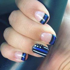 My thin blue line nails! #correctionswife #supportlawenforcement