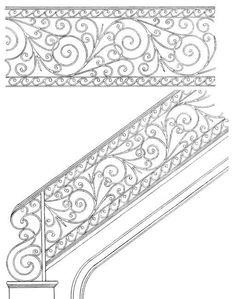 Custom Scroll Rails, Custom Railing, Hand Built Railing, Handmade In America Since Stair Railing Design, Iron Stair Railing, Metal Stairs, Stair Handrail, Staircase Railings, Railing Ideas, Staircase Ideas, Wrought Iron Staircase, Modern Staircase