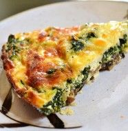Spinach, Mushroom & Feta Crustless Quiche-