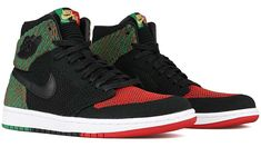 NIKE AIR JORDAN 1 RE HI FLYKNIT BHM [BLACK / BLACK-PINE GREEN-UNIVERSITY RED] aa2426-026
