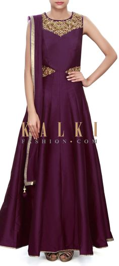 Buy Online from the link below. We ship worldwide (Free Shipping over US$100) Price- $169 Click Anywhere to Tag http://www.kalkifashion.com/purple-anarkali-suit-adorn-in-embroidered-neckline-only-on-kalki.html