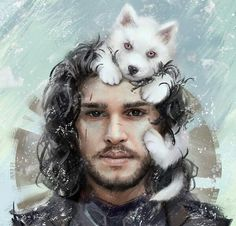 Jon Snow – Game of Thrones fan art by Aleksei Vinogradov Awww Ghost & Jon ♥ Fire And Ice, Jon Snow, Art, Anime, Digital Painting, Snow, Fan Art, Game Of Thrones Art, Pop Culture