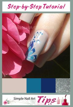 Step by step tutorial. How to do wet marbled flower nail art by Ana at www.SimpleNailArtTips.com. #nails #manicure
