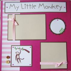 My Little Monkey. The perfect scrapbook page for my baby boy who loves to climb! Baby Girl Scrapbook, Baby Scrapbook Pages, 12x12 Scrapbook, Scrapbook Supplies, Scrapbook Examples, Scrapbook Sketches, Scrapbooking Layouts, Book Layouts, Scrapbook Templates