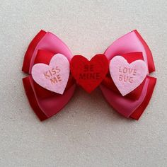 Valentines Romantic Hair Bow Hearts Cute Hair Bow by DazzlinLew
