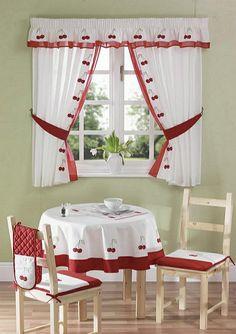 schöne gardinen küchenfenster retro kirschen motive